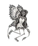 Art skull fairy tattoo. Stock Photography