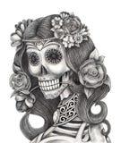 Art skull fashion model day of the dead festival. Stock Photos