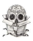 Art skull head in the box day of the dead festival. Art design head skull in the box for gift day of the dead festival hand pencil drawing on paper Stock Image