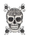 Art skull head day of the dead festival. Royalty Free Stock Photos