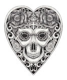 Art skull heart day of the dead. Royalty Free Stock Images
