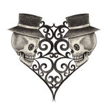 Art skull heart day of the dead. Stock Photography