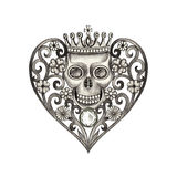 Art skull heart day of the dead. Royalty Free Stock Image