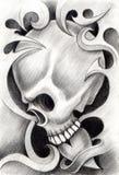 Art skull heart tattoo. Royalty Free Stock Image
