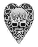 Art skull heart tattoo. Royalty Free Stock Photography