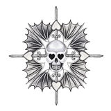 Art skull heart wings tattoo. Royalty Free Stock Photos