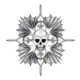 Art skull heart wings tattoo. Royalty Free Stock Photos