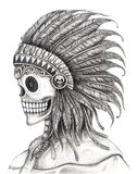 Art skull Indian day of the dead festival. Stock Photo