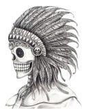 Art skull Indian day of the dead festival. Stock Photo
