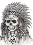 Art skull indian day of the dead festival. Royalty Free Stock Images