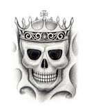 Art skull king tattoo. Royalty Free Stock Photography