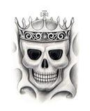Art skull king tattoo. Royalty Free Stock Photography
