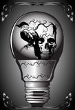 Art skull and lamp. A graphic illustrator to design a rock Stock Photography