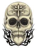 Art skull mix heart tattoo. Royalty Free Stock Images