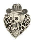 Art skull mix heart tattoo. Stock Images