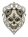 Art skull mix jewelry Stock Photography