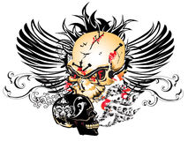 Art skull pattern tattoo. A graphic illustrator to design a rock Stock Images
