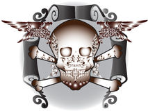 Art skull pattern tattoo. A graphic illustrator to design a rock Royalty Free Stock Photo