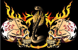 Art skull pattern tattoo. A graphic illustrator to design a rock Royalty Free Stock Images