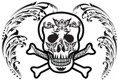 Art skull pattern tattoo. A graphic illustrator to design a rock Stock Photography