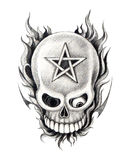 Art skull pentagram  tattoo. Stock Photography
