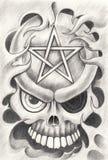 Art skull pentagram tattoo. Stock Photo