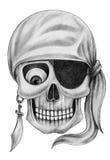 Art skull pirate tattoo. Stock Images