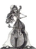 Art skull playing double bass day of the dead festival. Royalty Free Stock Images