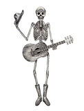 Art skull playing guitar day of the dead festival. Royalty Free Stock Photo