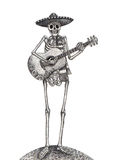 Art skull playing guitar day of the dead festival. Royalty Free Stock Image