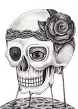 Art skull surreal. Royalty Free Stock Image
