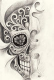 Art skull tattoo day of the dad. Stock Images