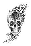 Art skull tattoo day of the dead. Royalty Free Stock Images