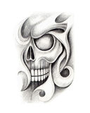 Art skull tattoo. Royalty Free Stock Image
