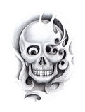 Art skull tattoo. Royalty Free Stock Images