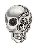 Art skull tattoo. royalty free illustration
