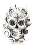 Art skull tattoo. Royalty Free Stock Photos