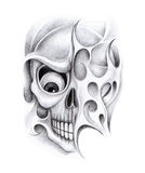 Art skull tattoo. Stock Photo