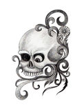 Art skull tattoo. Royalty Free Stock Photo