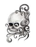 Art skull tattoo. Royalty Free Stock Photo