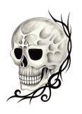 Art skull tattoo. Royalty Free Stock Photos