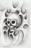 Art skull tattoo. Stock Photos