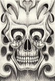Art skull tattoo. Stock Photo