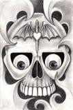 Art skull tattoo. Royalty Free Stock Photography