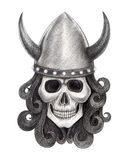 Art skull vikings tattoo. Royalty Free Stock Image