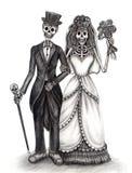 Art skull wedding day of the dead festival. Royalty Free Stock Photos