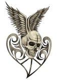 Art skull wing heart tattoo. Royalty Free Stock Photography