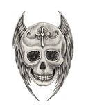 Art skull wings angel tattoo. Royalty Free Stock Image