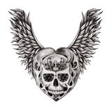 Art skull wings angel tattoo. Royalty Free Stock Photography