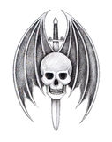 Art skull wings devil sword tattoo. Royalty Free Stock Photos